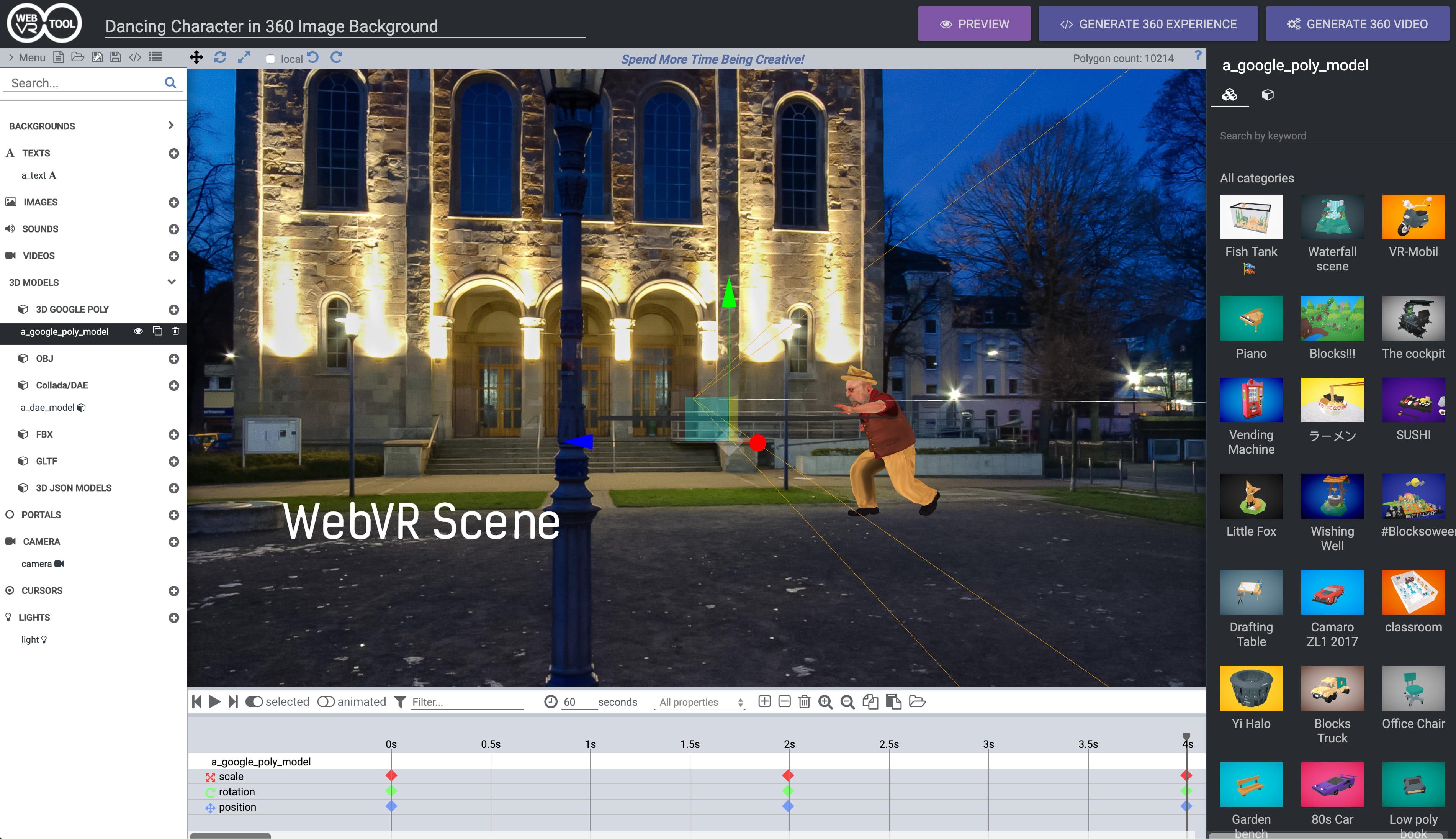 WebVR Editor Tool